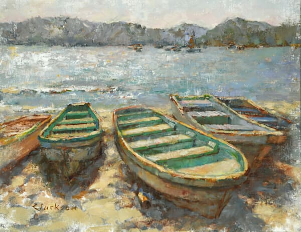 Boats Bleaching on the Sand Oil Painting