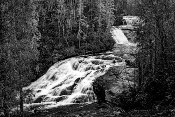 Triple Falls in black-and-white