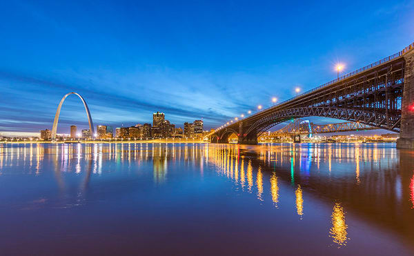 Blue Hour over Eads Bridge Panorama