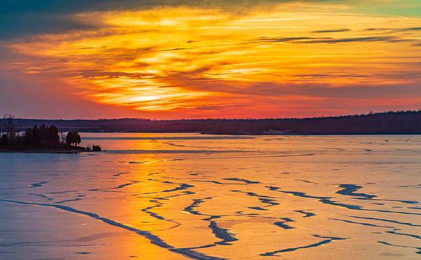 Frozen Sunset Over Caesar Creek