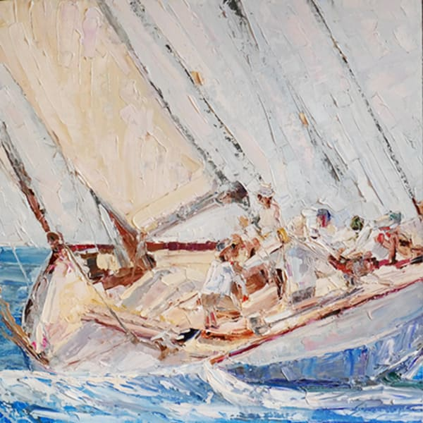 On the Edge, original, palette knife, painting, sailing, blue, square, angle, impressionist
