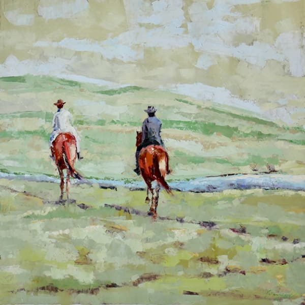 oil painting, palette knife, green, horses, landscape, square