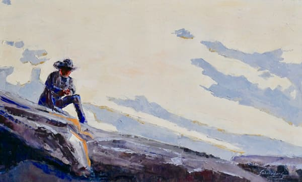 Taking a Break, Original Work, blue, western, wall art, thoughtful, relaxed