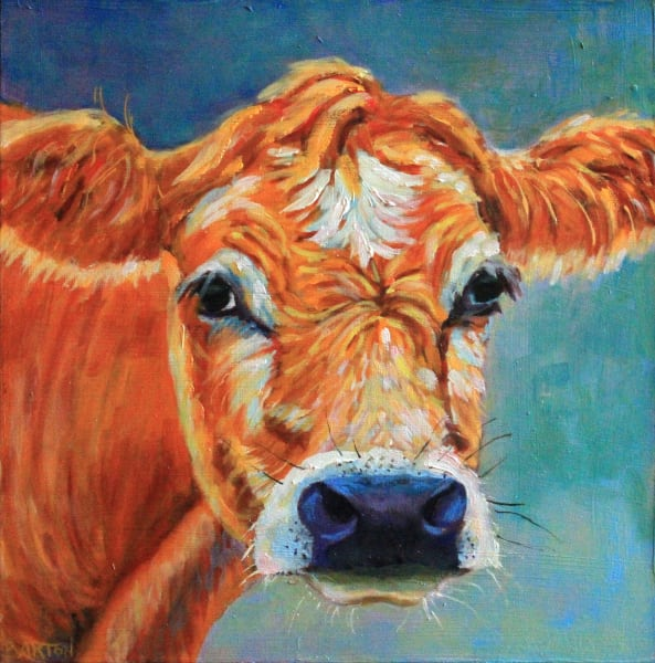 Jersey Girl cow paint blue
