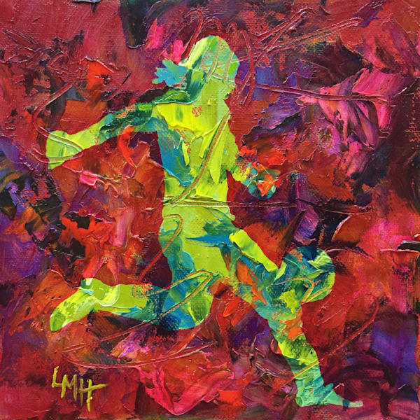 Full On, a  museum quality, Limited Edition, hand embellished fine art print from the Silhouette Collection by Southern artist, Laura McRae Hitchcock, depicts a girl playing soccer.