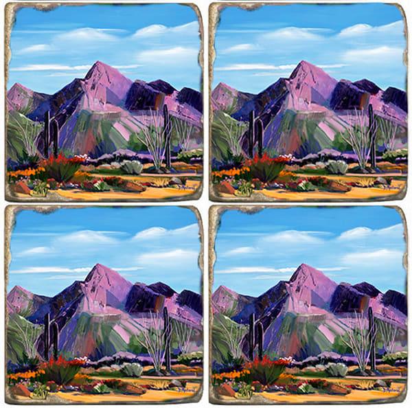 Pink Ocotillo at Push Ridge Marble Coaster Set