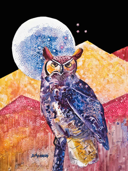 Night Owl Mini Canvas by Diana Madaras