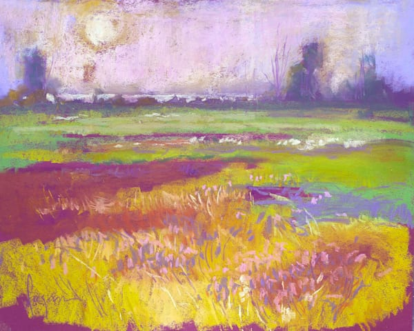 Meadow Painting, Original Pastel by Dorothy Fagan