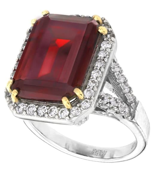 Sterling Silver Deep Crimson Emerald Cut Ring