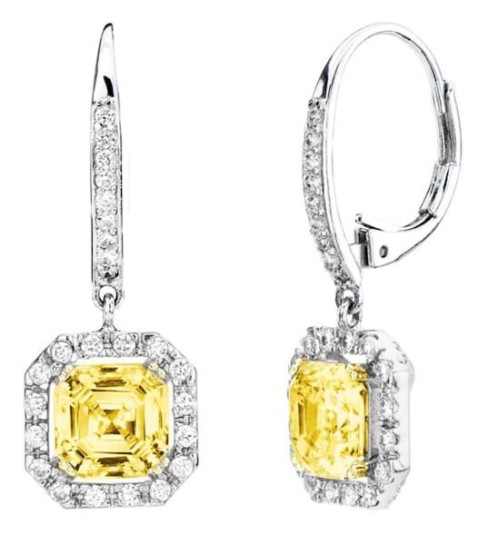 Yellow Canary Asscher Cut Drop Earrings Bling by Wilkening