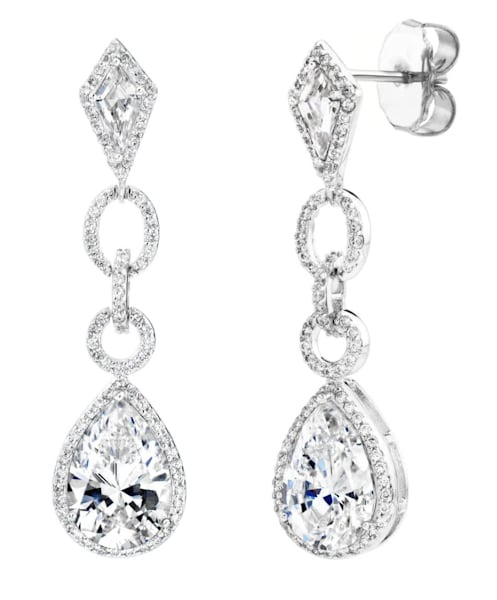 Silver Royal Occasion Teardrop Earrings Bling by Wilkening