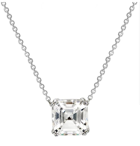 Silver 2 Carat Asscher Cut Necklace Bling by Wilkening