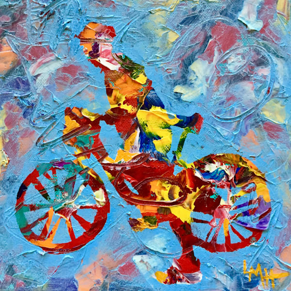 Ready Set Go! by Laura McRae Hitchcock is a fine art Limited Edition print on archival canvas using the finest inks depicting a figure on a bike.