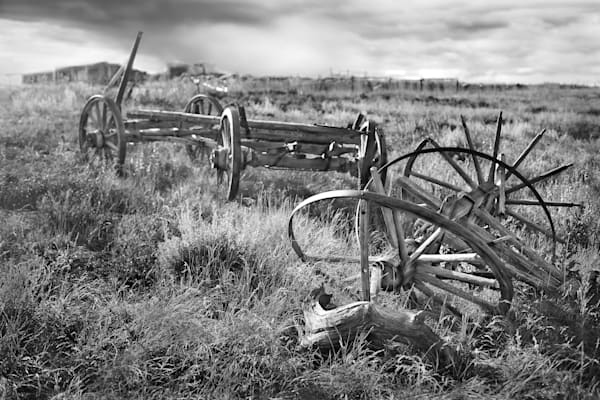 Americana, black and white, The wheels that carried them, a fine art photograph by David Zlotky