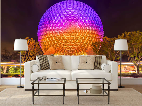 Spaceship Earth at Night 5 - Disney Mural | William Drew Photography