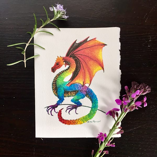 Rainbow Dragon Notecards by Becky MacPherson