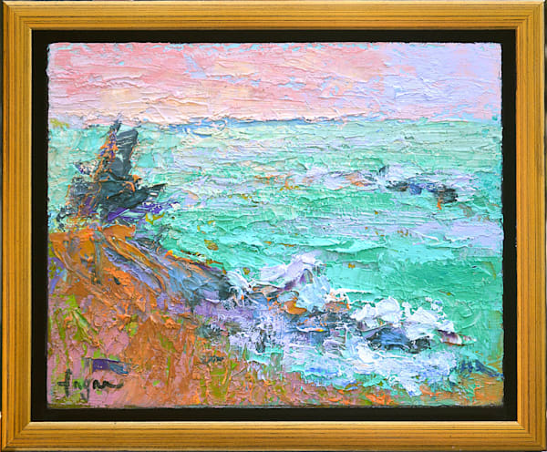 Small Oil Painting Emerald Coast France by Dorothy Fagan