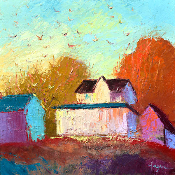 Flock Birds Landscape Farm, Original Oil Painting by Dorothy Fagan