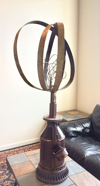 Appointed cool salvage  sculpture with vintage milk ca, barrel hoops.