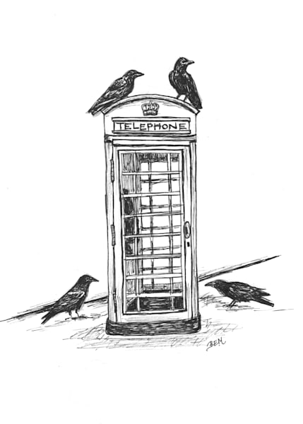 Calling Birds- Crow and Retro Telephone Booth by Becky MacPherson
