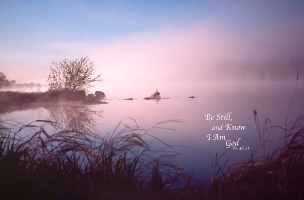 Foggy dawn, Chippewa River, with quote - shop prints | Closer Views