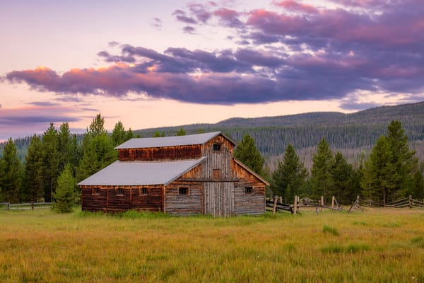 Colorful Sunrise Photo of Little Buckaroo Barn Rocky Mountain National Park Colorado