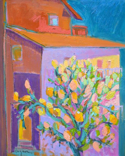Italian Lemon Tree, Limoncello, Original Oil Painting by Dorothy Fagan