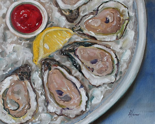 Gulf Oysters on Ice Original Oil Painting by Coastal Artist Kristine Kainer