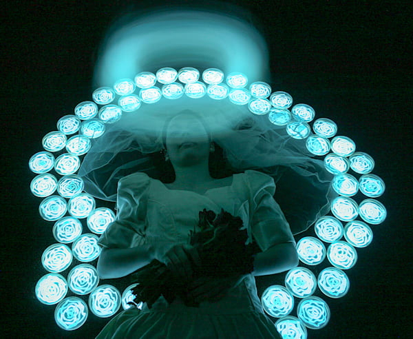 Angel Bride, Photograph by the Light of Bioluminescent Bacteria by Hunter Cole