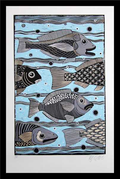 a large fish linocut reduction by printmaker Mariann Johansen-Ellis, art, paintings, blue water,