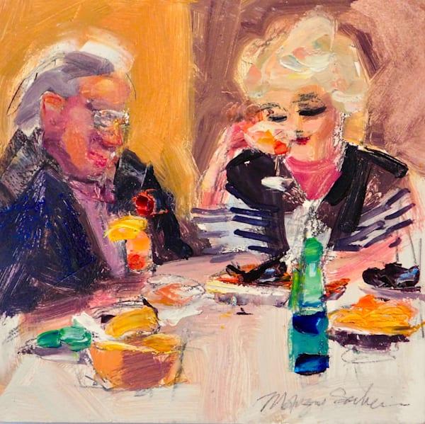 """Happy Diners 1"" alla prima  portrait series by Monique Sarkessian, oil on wood, 12x12"", Framed ."