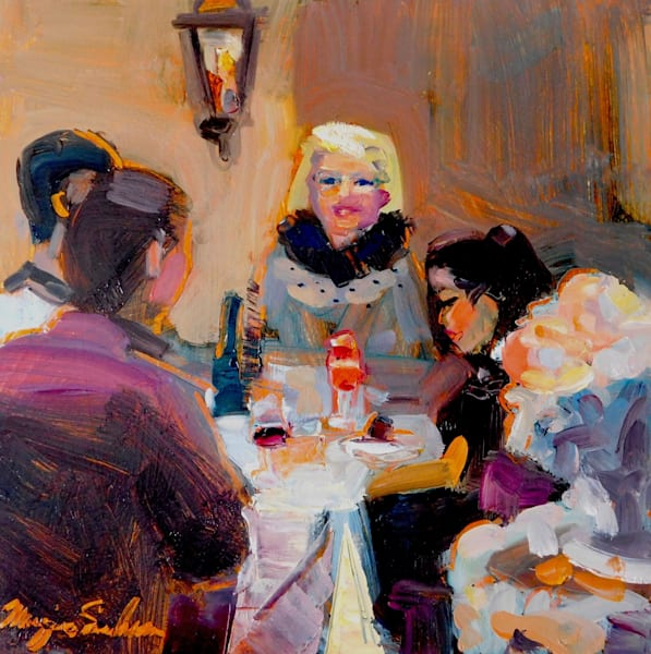 """""""Happy Family"""" alla prima  portrait series by Monique Sarkessian, oil on wood, 12x12"""", Framed ."""