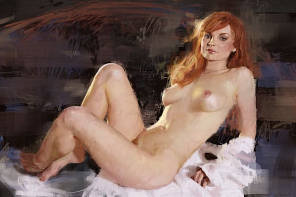 Ginger Seated Nude by Eric Wallis