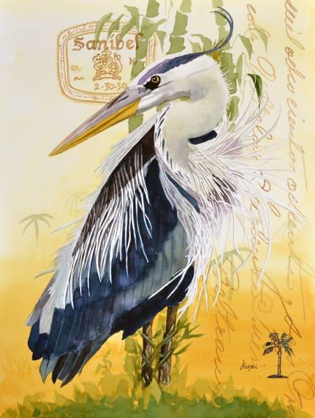 Blue Heron II - A painting of a Sanibel Blue Heron