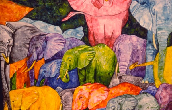 Elephant Party Gilcee Art Print by Dee Van Houten
