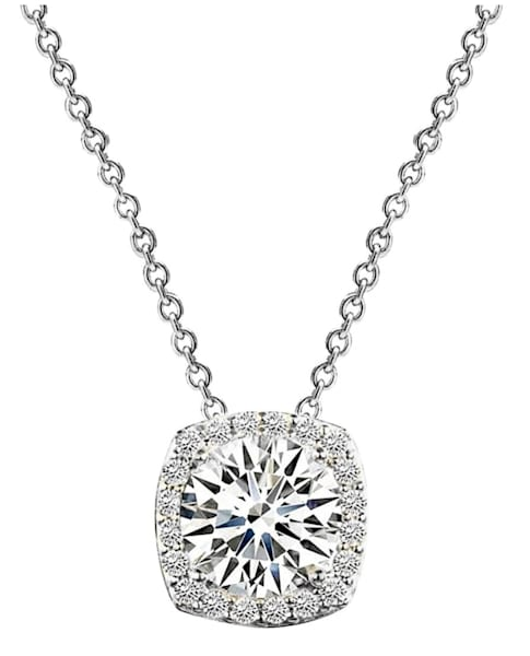 Sterling Silver 3 Carat Cushion Cut Necklace