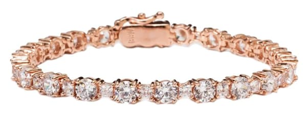 18 KGP Rose Gold Princess Tennis Bracelet Bling by Wilkening