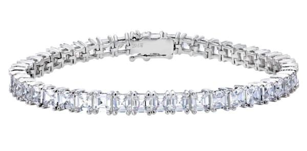 Silver Asscher Cut Tennis Bracelet Bling by Wilkening