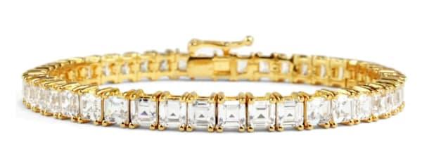 18 KGP Asscher Cut Tennis Bracelet Bling by Wilkening