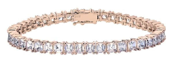 18 KGP Rose Gold Asscher Cut Tennis Bracelet Bling by Wilkening