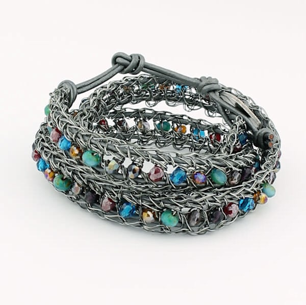 Antique gunmetal with multi beads by Studio Jere