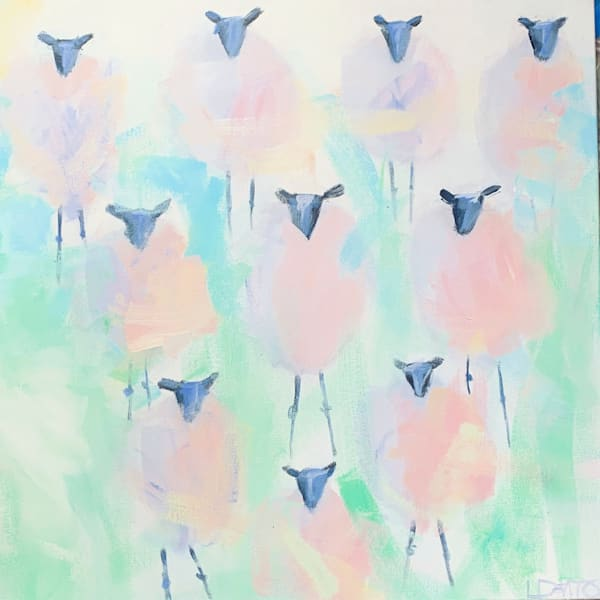 NEW!! TEN SHEEPS to the wind - 20 x 20 - $350