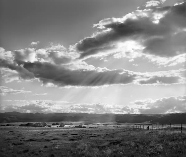 The Hills are Alive - bw | God Rays, Northern Colorado - bw. A fine art black and white photograph by David Zlotky.