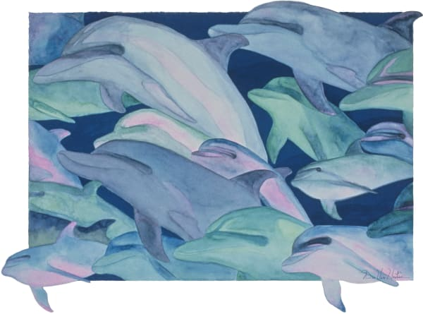 Color Rhythms Dolphin Giclee Prints by Dee Van Houten