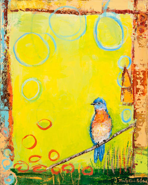 Bright Colored Blue Bird Painting