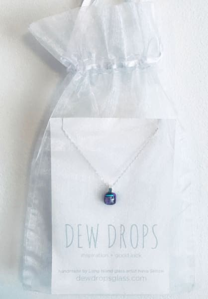Dewdrop Magenta Siler Blue Necklace