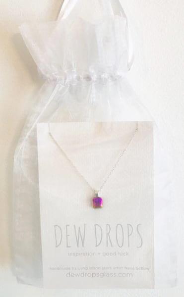 Dewdrop Pink Green Shimmer Necklace