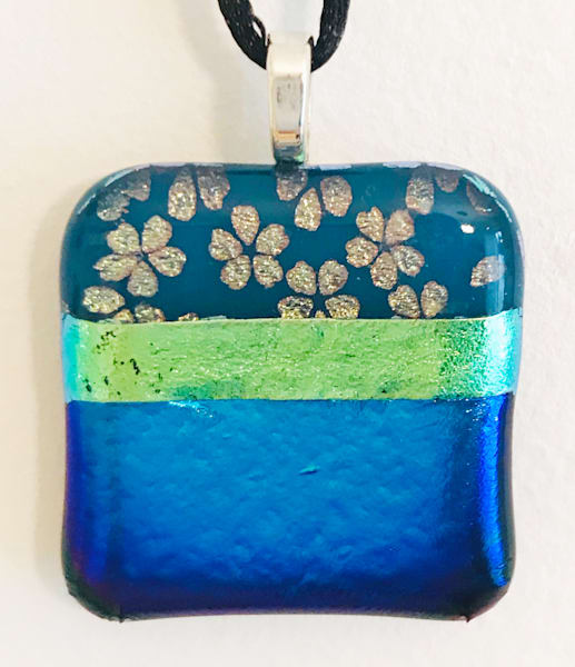 Gold Flowers Blue Green Necklace