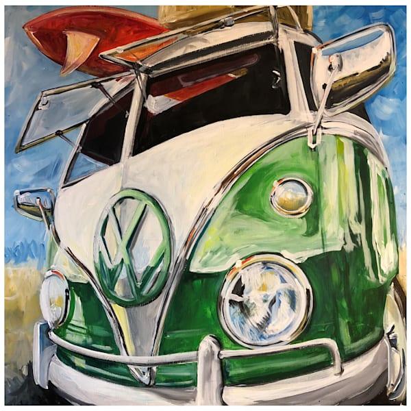 Green Vw Bus Surfer Art | Motorgirl Studios