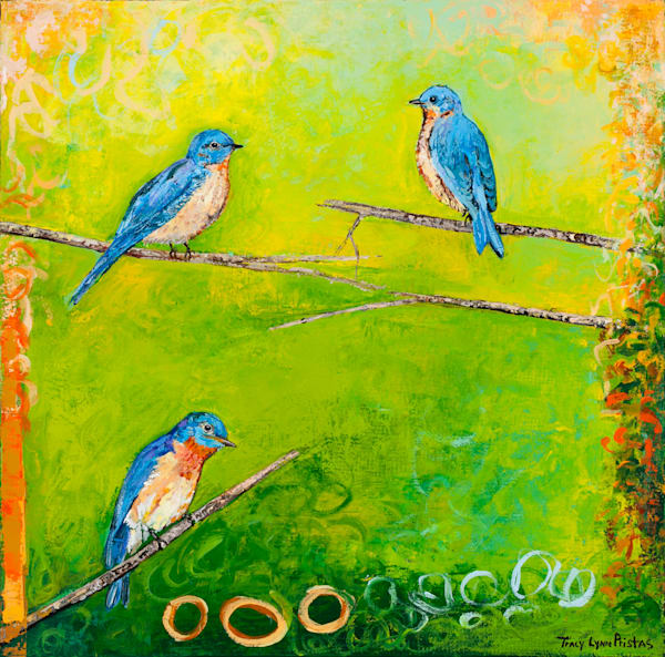Bluebird Original Painting With Bright Colors